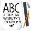 Stock Vector: Sketch drawn alphabet on paper
