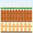 Seamless Fences Set - Stok Vektr