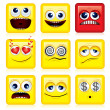 Square Smileys — Stock vektor
