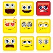 Square Smileys - Stockvectorbeeld