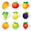 Stickers with Fruits - Stock Vector