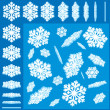 3D Vector Snowflakes Set — ストックベクタ