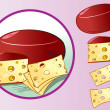 Cheese with cheese slices - Stock Vector