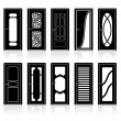 Collection of Interior Door Silhouettes - Image vectorielle
