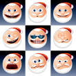 santa claus smileys — Stock Vector