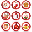 Set of Christmas Buttons - Stock Vector