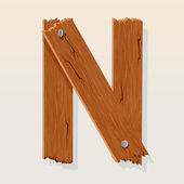 Letter N From vector Wooden Alphabet — Stock Vector