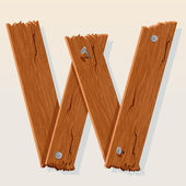 Letter W From vector Wooden Alphabet — Stock Vector