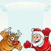 Santa with Rudolph — Stock Vector