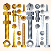 Screws, Bolts and Rivets — Vector de stock