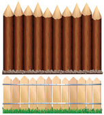 Wooden Fences — Stock Vector