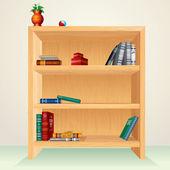 Wooden Bookcase — Stock Vector