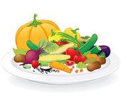 Vegan Plate — Stock Vector