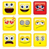 Square Smileys — Stock Vector