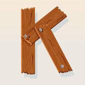 Letter K From vector Wooden Alphabet — Stock Vector