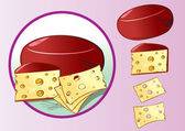 Cheese with cheese slices — Stock Vector