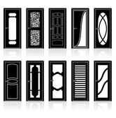 Collection of Interior Door Silhouettes — Stock Vector