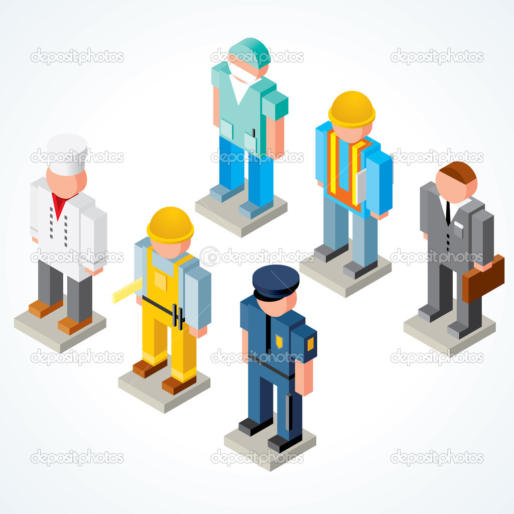 Occupations, isometric vector icons of chef, policeman, surgeon, builder, businessman and engineer  Stok Vektr #8440000