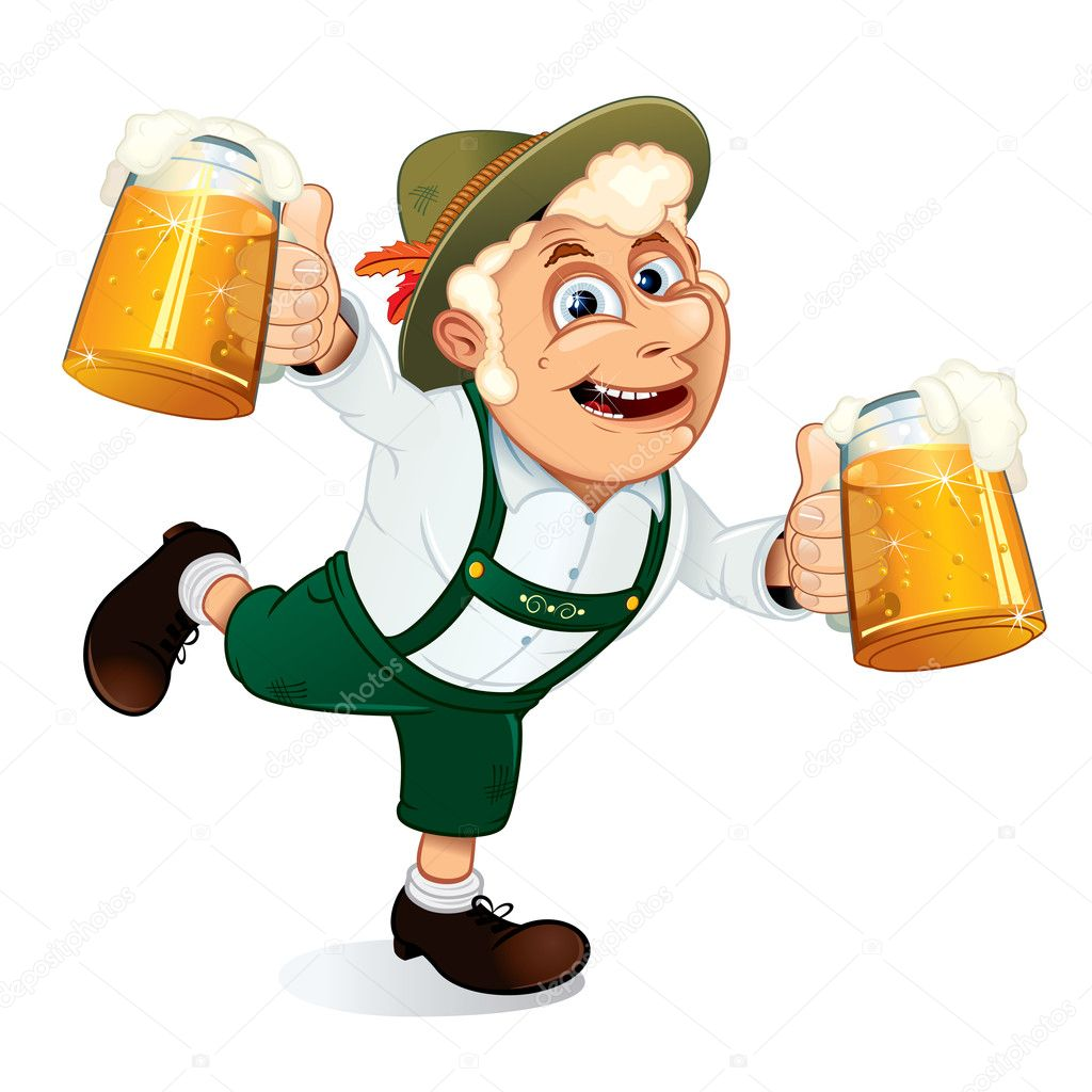 Hilarious Drunk Guy with mugs of beer at hands on a Oktoberfest festival — Imagen vectorial #8440129
