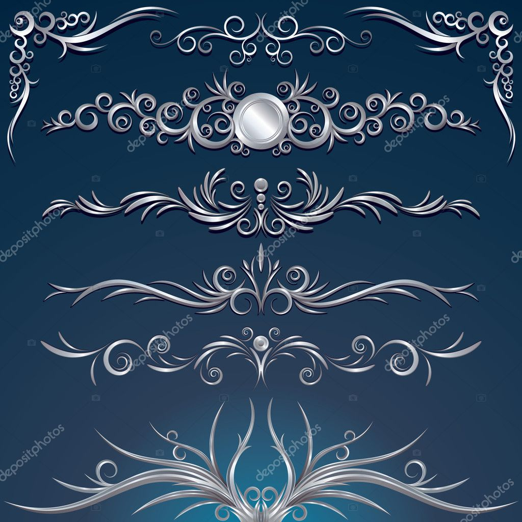 Floral silver design elements, decorations, ornaments, vector illustration — ベクター素材ストック #8440235