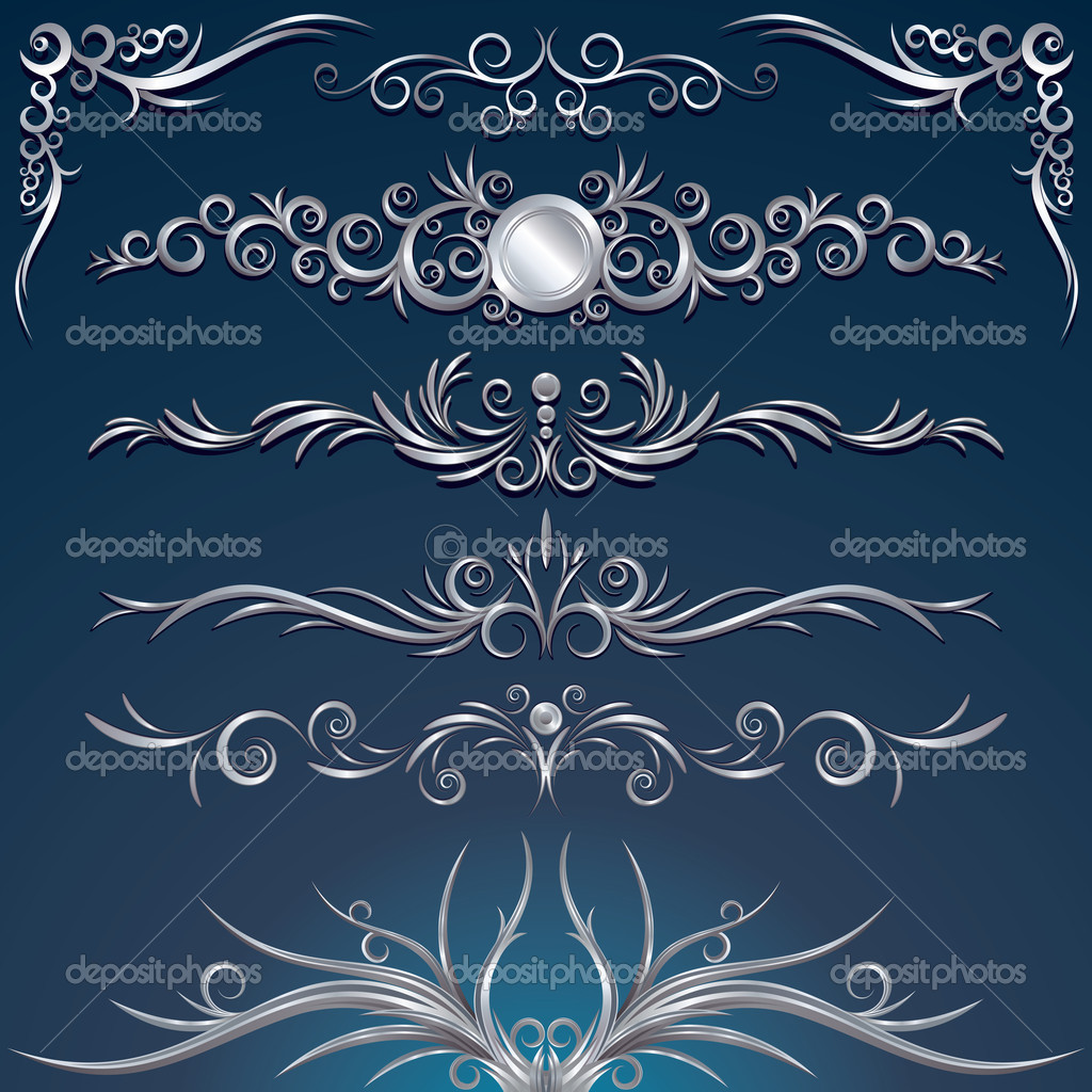 Floral silver design elements, decorations, ornaments, vector illustration — Image vectorielle #8440235