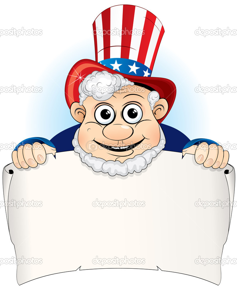 Uncle Sam with aged paper scroll — Stock Vector #8440338