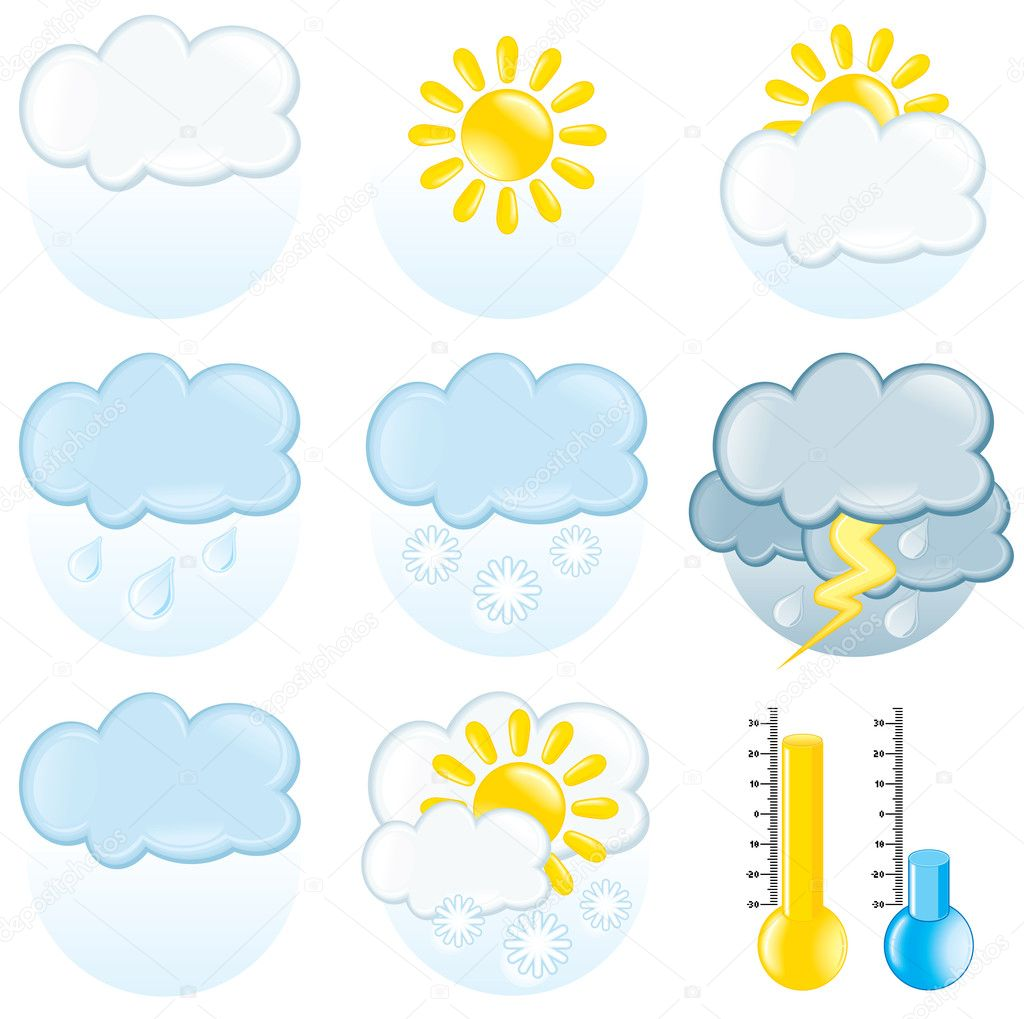 Set of detailed weather symbols — Stock Vector #8440781