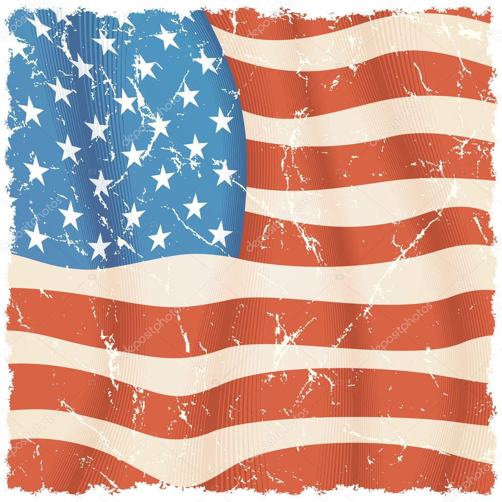 American Flag theme, grunge vector background — Stock Vector #8440917