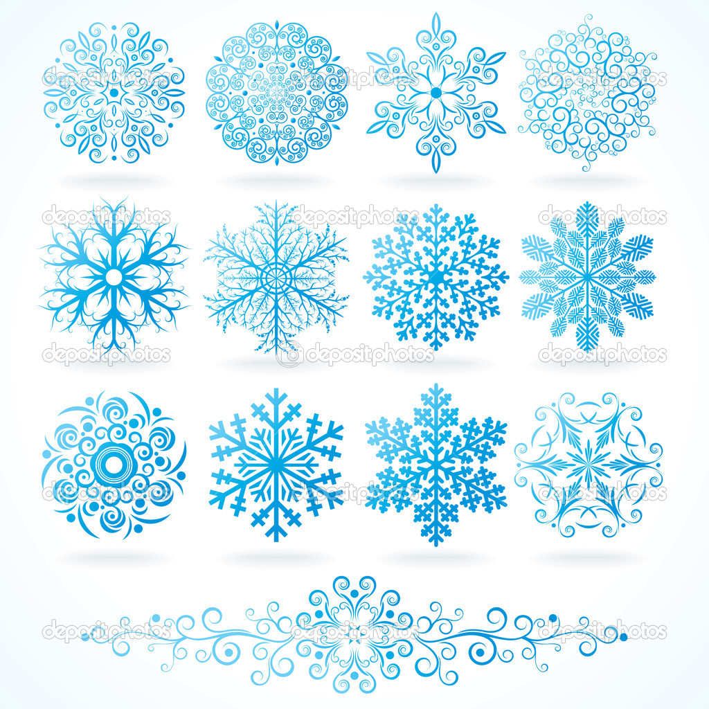 3D Vector Snowflakes, Set of Festive Decorative  Stock Vector #8444191