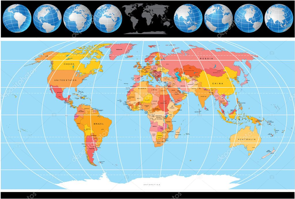 Vector World Map with set of Globes, Map include all Countries with Capitals. — Stockvectorbeeld #8444225