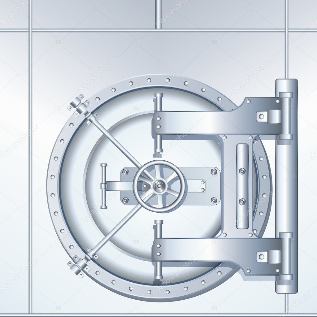 Rounded Bank Vault Door, detailed vector illustration — Stock Vector #8444251