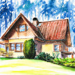 House close to forest — Stock Photo