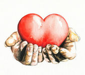 Hands holding heart. — Stock Photo