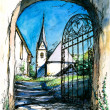 Gate to church — Stock Photo #8526942