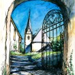 Gate to church — Stock Photo