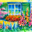 Window in garden - Stock Photo