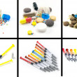 A collage of pills and syringes — Foto Stock