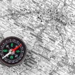 Map with compass - Stock Photo