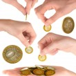 Set of hand with coins — Stock Photo