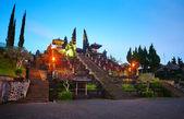 Gece lambası, hindu tapınağı pura besakih. bali. endonezya — Stok fotoğraf