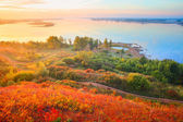 Valley of Kama river (Ural region in Russia) with trees and roads at sunrise — Stockfoto