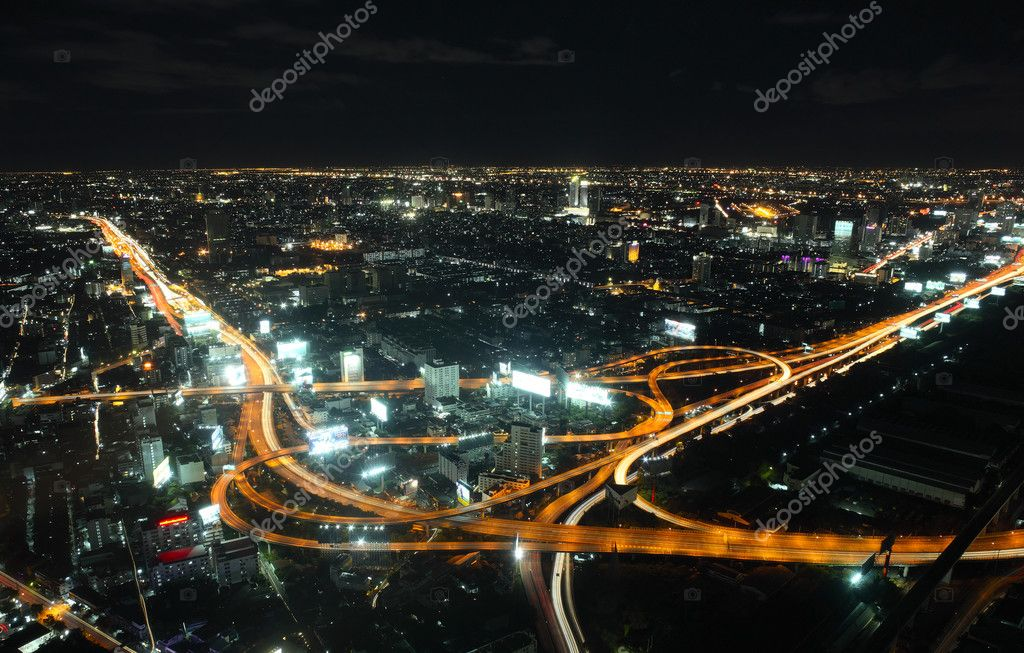 Night bird's view of Bangkok — Stock Photo #8147583