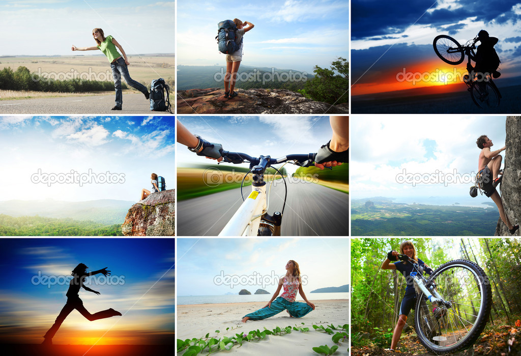 Collage with sport and travel theme. Hiking, cycling, climbing — Stok fotoğraf #8148558
