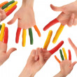 Set of colored human hands — Stock Photo