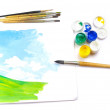 Working place of artist — Stock Photo