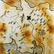 Old burned hand made map — Stock Photo