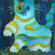 Hand made drawing on textile. Blue abstract cat — Stock Photo