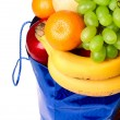 Fruits and bag — Stock Photo