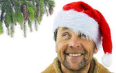Smiling men with beard in santa's hat — Stock Photo