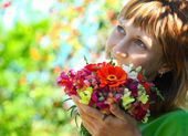 Woman in a garden — Stock Photo